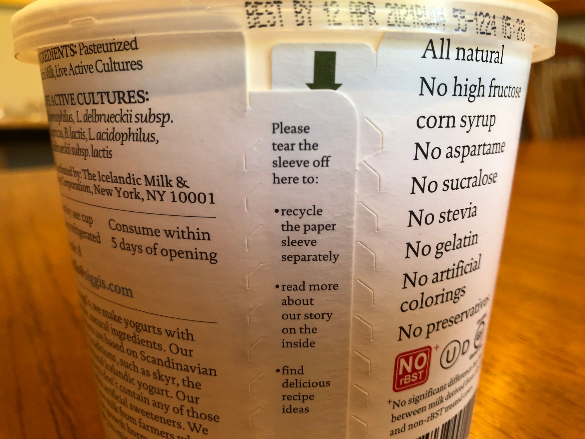 Recycling Instructions For Siggi's Yogurt