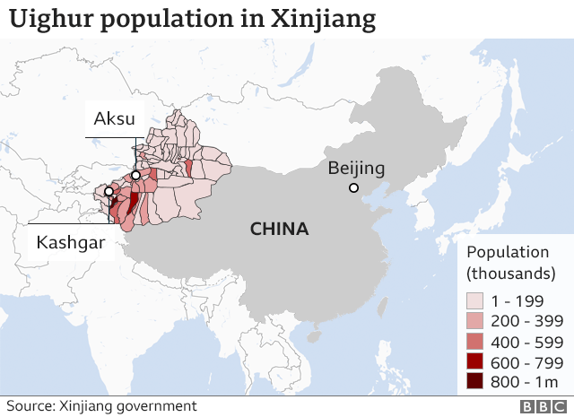 Uyghur Population Centers In China