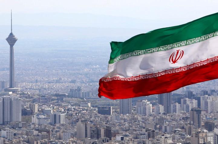 Iranian Flag Over Iranian Capital City Tehran