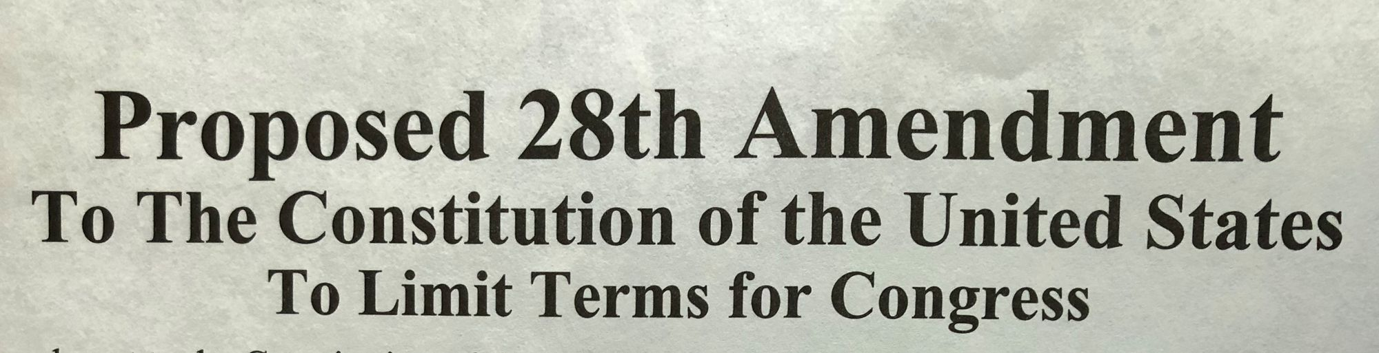 Proposed 28th Amendment To Limit Terms For Congress
