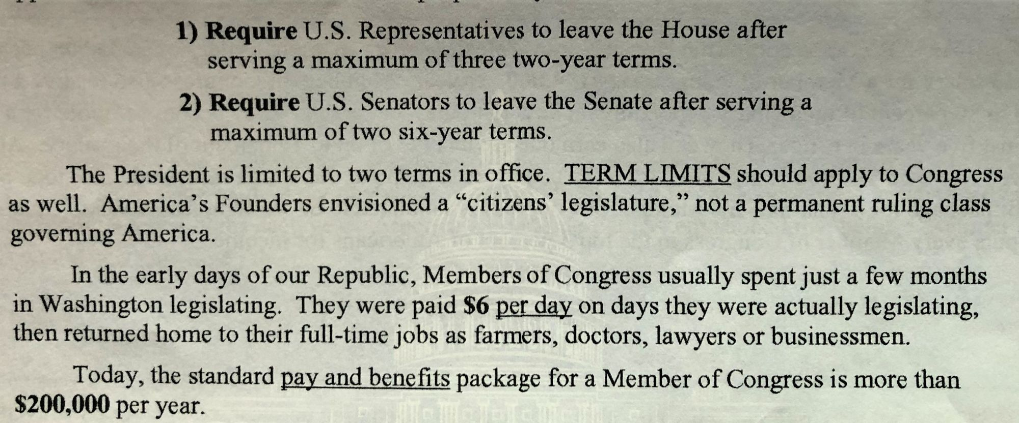 Proposed 28th Amendment To Limit Terms For Congress (Continued)