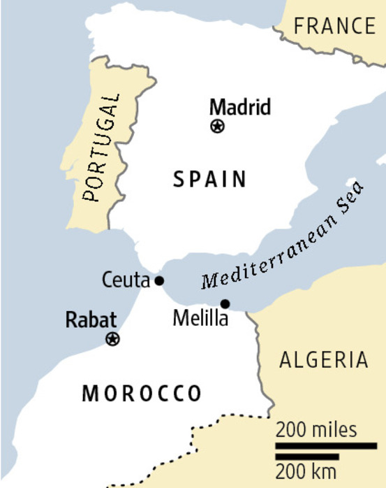 Location of Cueta Spain On Map In relation to Morrocco