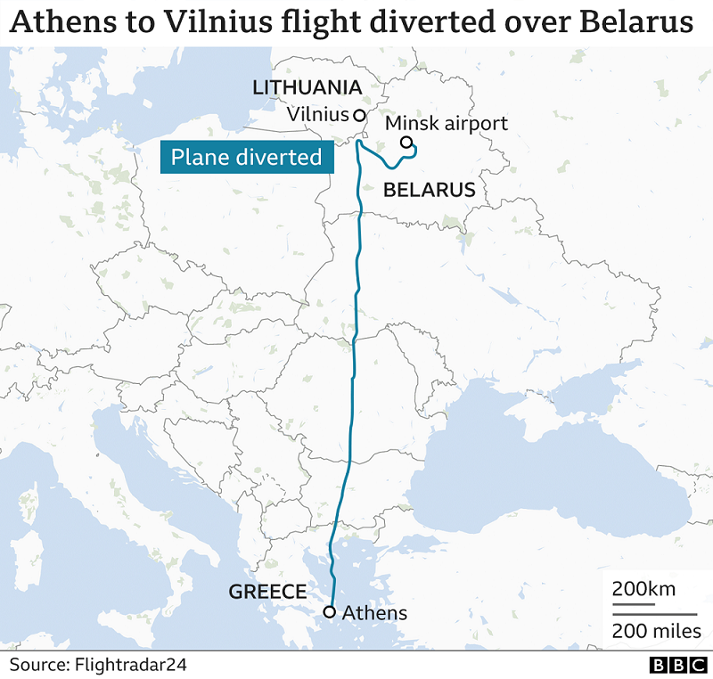 Diverted Ryanair Flight By Belarus, Flight Path