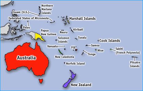 Location of Australian pacific embassies