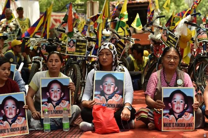 Tibetan Protestors For Freedom Of Panchen Lama