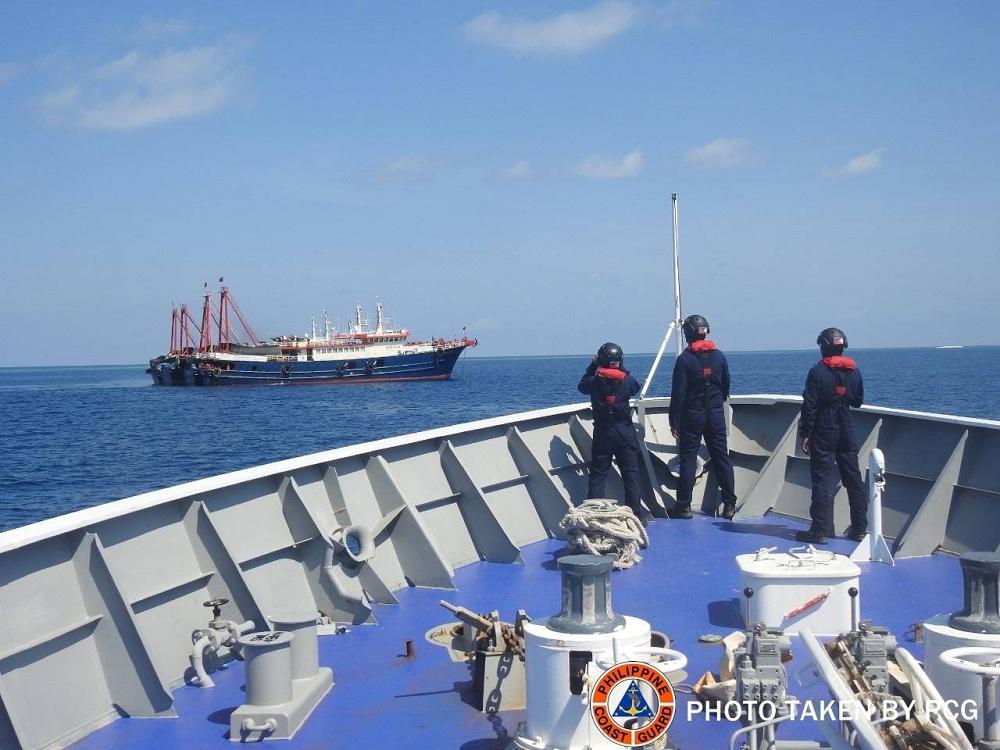 Philipino Coast Gaurd Observing Chinese Fishing Fleet In South China Sea