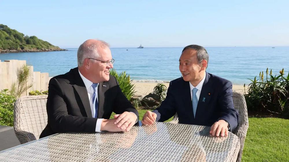 Prime Minister Of Australia Scott Morrison And Japanese PM Yoshihide Suga