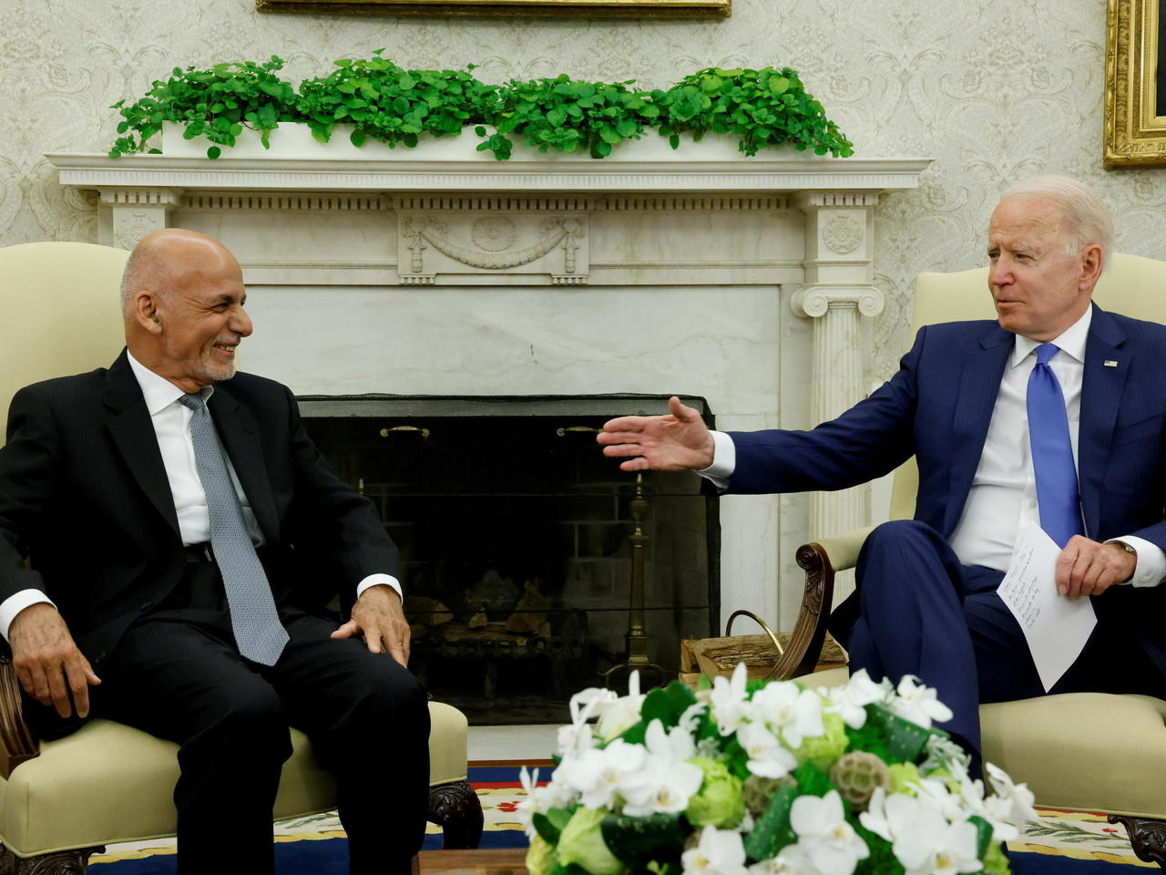 Afghan Ashraf Ghani (Left) And U.S President Joe Biden