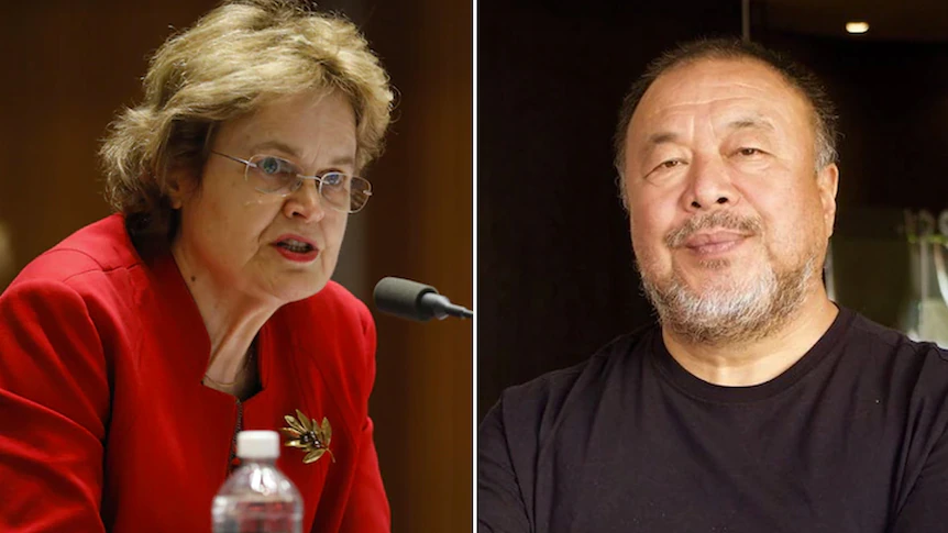 Former Ambassador To China Frances Adamson Of Australia and Chinese Artist Ai Weiwei