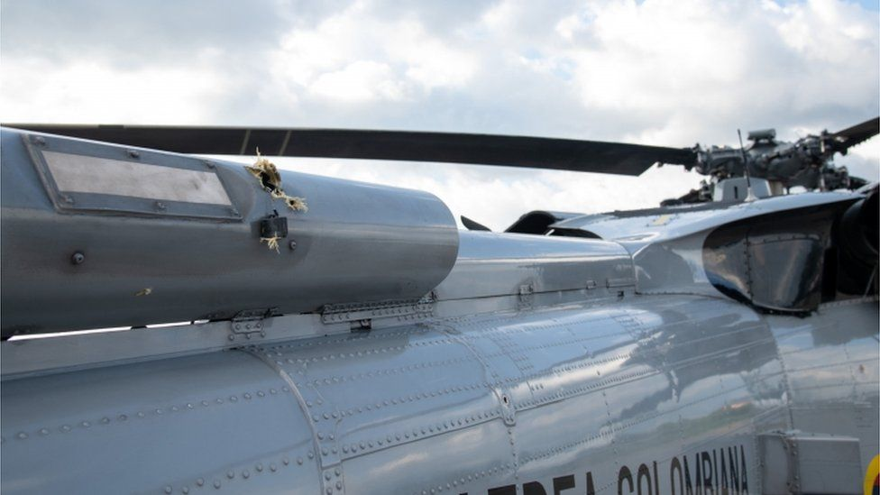 Columbian Presidential Helicopter With Bullet Holes
