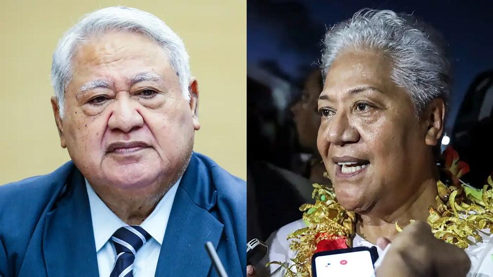 Samoa's Prime Minister Tuilaepa Sailele Malielegaoi, left, and Prime Minister-elect Fiame Naomi Mata'afa: The former has refused to step aside after the latter narrowly won the island nation's election. (Source photos by Akira Kodaka and AP)
