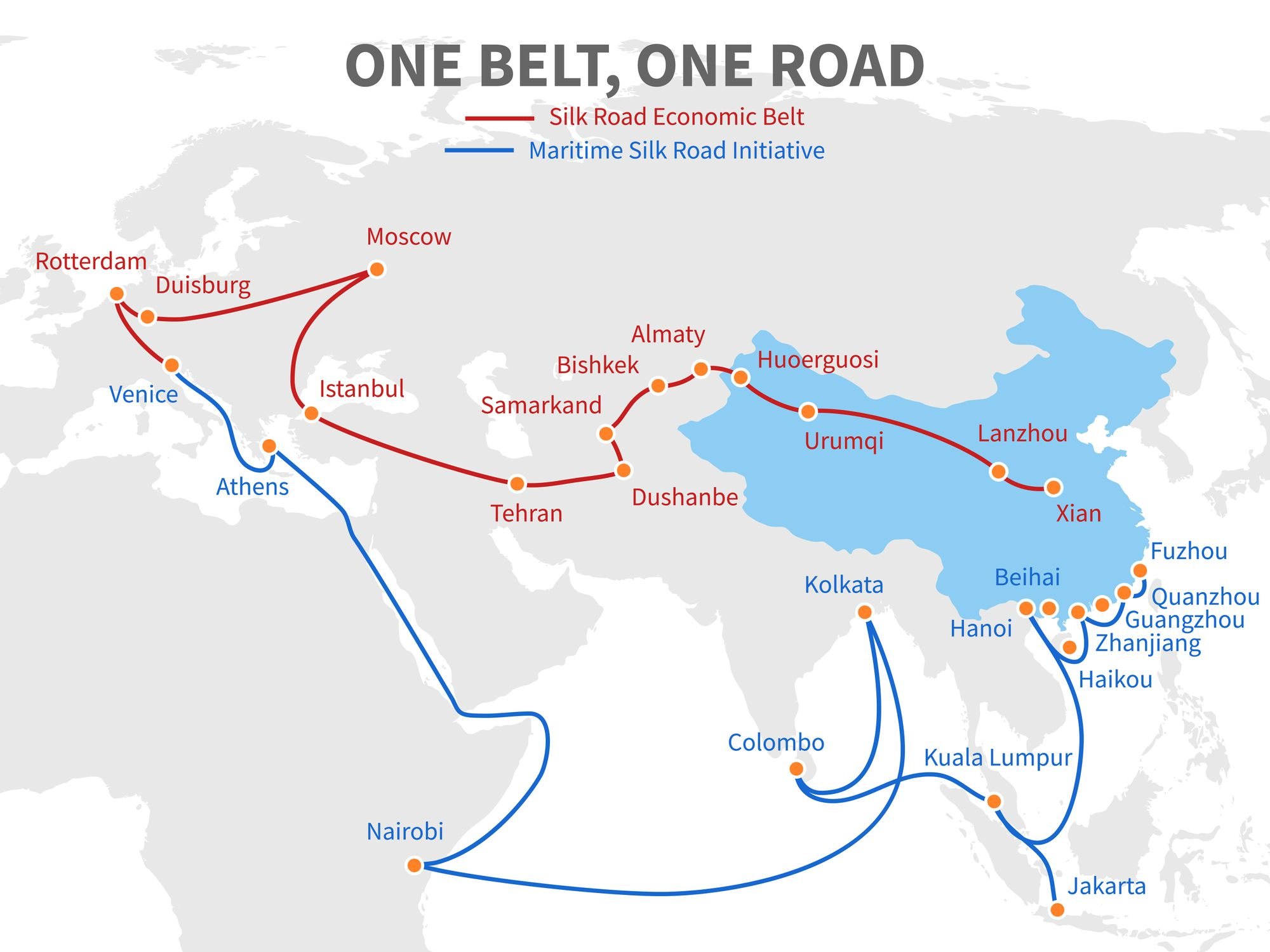 Belt And Road Transportation Routes