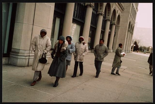 Rosa Parks and others picketing in front of General Motors corporate headquarters, Detroit, Michigan (1986).  Courtesy Library of Congress.