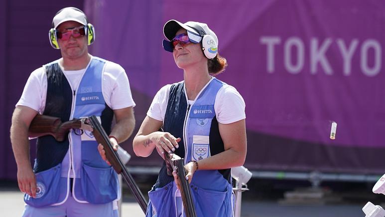 Gian Marco Berti, left, Alessandra Perilli, both of San Marino won silver in the mixed team trap at the Tokyo 2020 Summer Olympics . Gian Marco Berti, left, Alessandra Perilli, both of San Marino won silver in the mixed team trap at the Tokyo 2020 Summer Olympics .