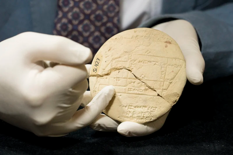 Dr Daniel Mansfield's research shows the 3700-year-old artifact from the Old Babylonian period contains the earliest example of complex geometry in the world.Credit:UNSW