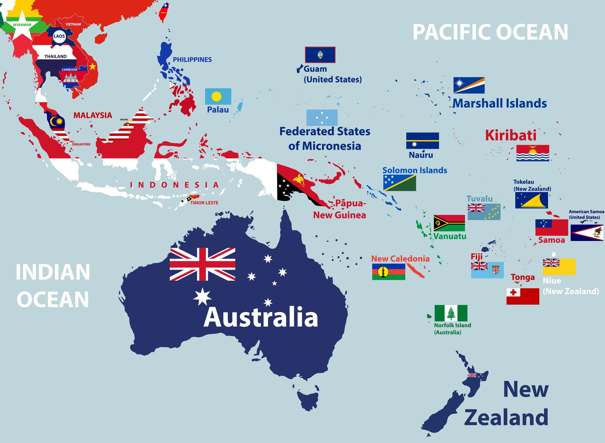 Map of the pacific region