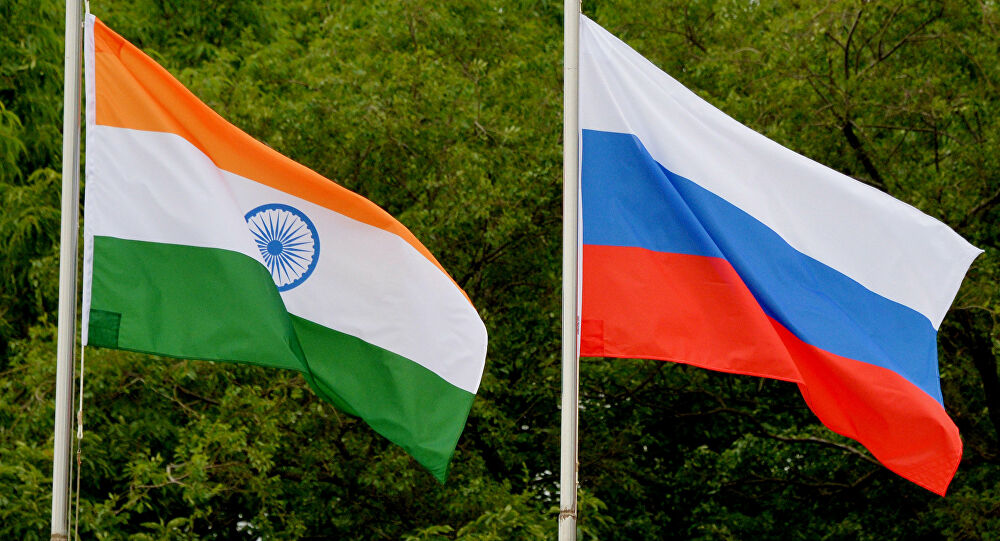 Russia India flags