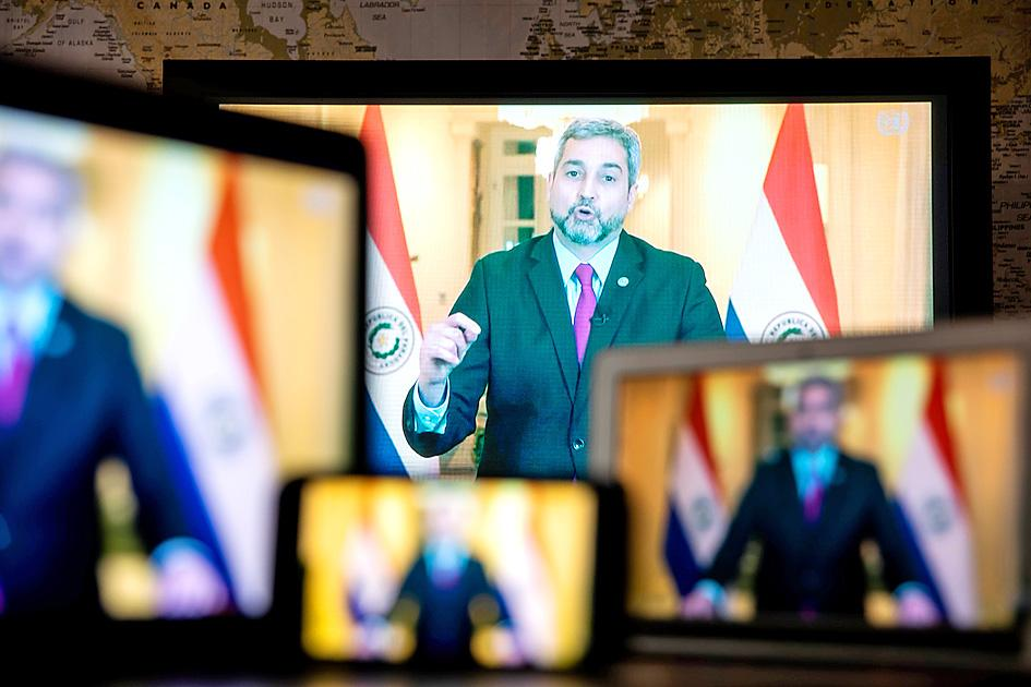Paraguayan President Mario Abdo Benitez speaks in a recorded video during the UN General Assembly in New York