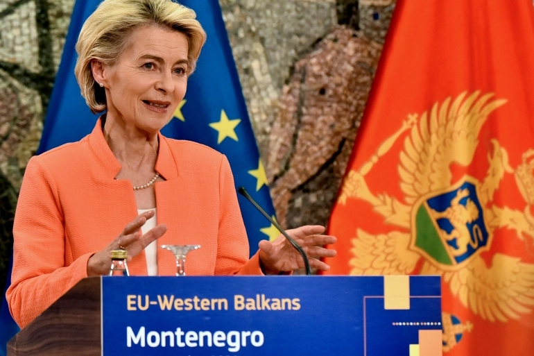 EC President Ursula von der Leyen recently visited the six Western Balkan countries to assure their future is in the EU [Risto Bozovic/AP Photo]