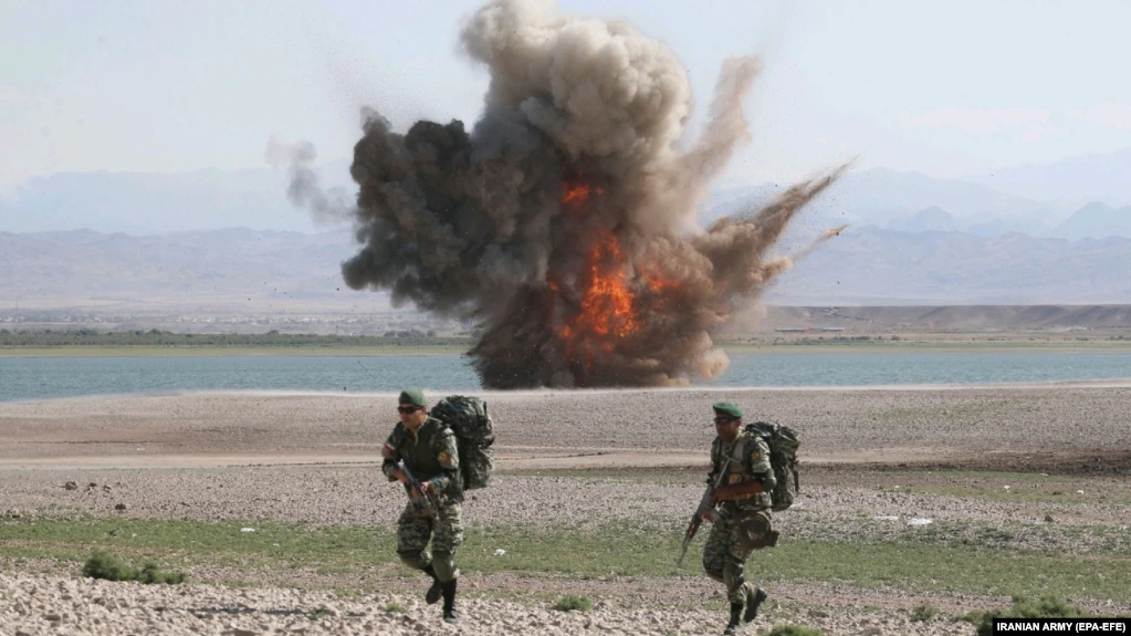 An explosion during a military exercise by the Iranian Army in the country's northwest, close to the border with Azerbaijan, on October 1.
