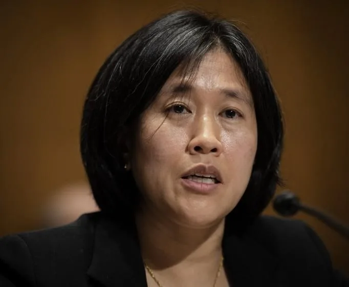In a speech Monday, Katherine Tai, the U.S. trade representative, detailed how China's trade policies have hurt American workers and industries. (Associated Press)