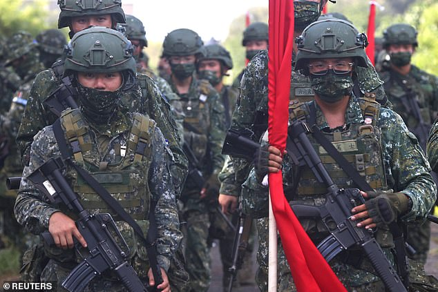 Taiwanese soldiers during the annual Han Kuang military drill in September